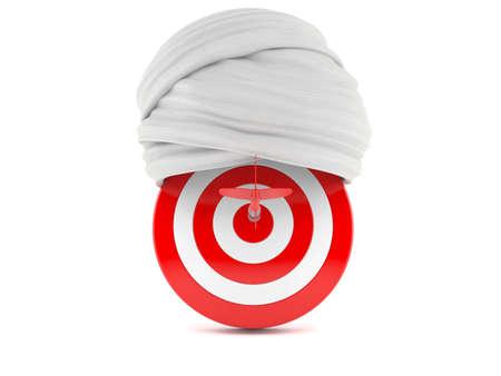 Bull's eye with turban isolated on white background. 3d illustration Standard-Bild