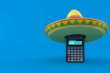 Calculator with sombrero isolated on blue background. 3d illustration