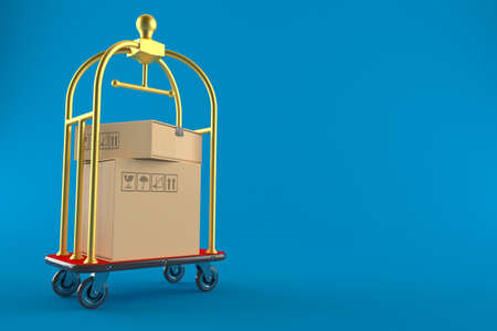 Packages with hotel luggage cart isolated on blue background. 3d illustration