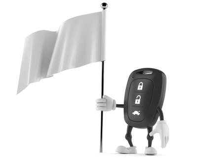 Car remote key character holding blank flag isolated on white background. 3d illustration