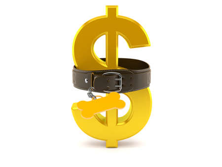 Dollar currency inside dog collar isolated on white background. 3d illustration