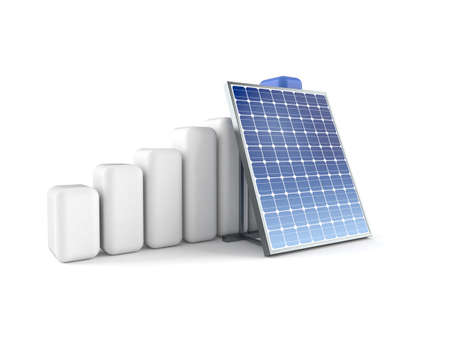 Photovoltaic panel with chart isolated on white background. 3d illustration
