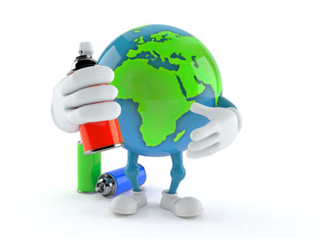 World globe character with spray cans isolated on white background. 3d illustration
