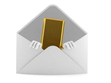 Gold ingot character inside envelope isolated on white background. 3d illustration