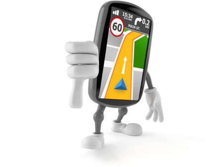 GPS navigation character with thumbs down gesture isolated on white background. 3d illustration