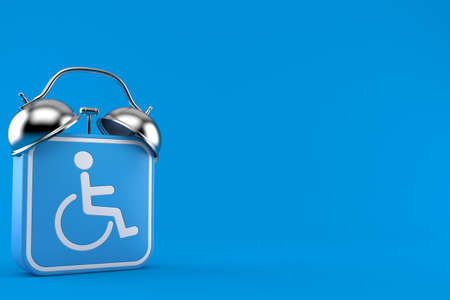 Handicap symbol with alarm clock isolated on blue background. 3d illustration Foto de archivo