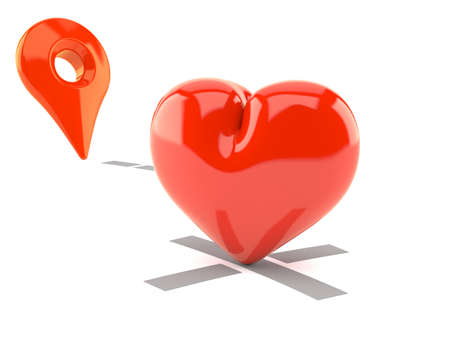 Heart with position marker isolated on white background. 3d illustration Standard-Bild