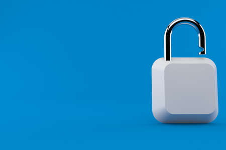 Computer key with padlock isolated on blue background. 3d illustration Foto de archivo