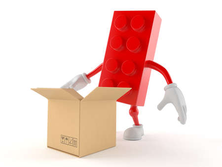 Toy block character with open cardboard box isolated on white background. 3d illustration