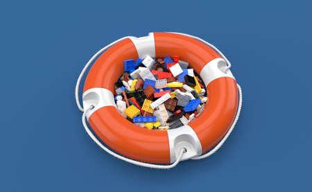 Bricks inside life buoy isolated on blue background. 3d illustration Standard-Bild
