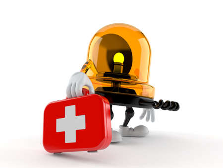 Emergency siren character holding first aid kit isolated on white background. 3d illustration Standard-Bild
