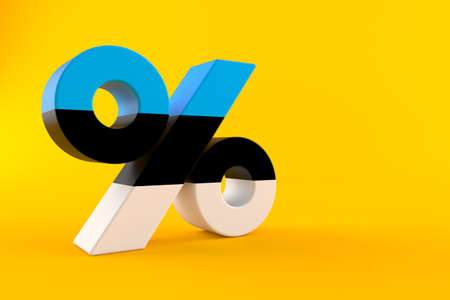 Percent symbol with estonian flag isolated on orange background. 3d illustration Standard-Bild