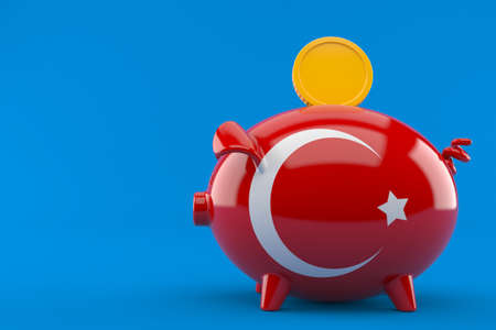 Piggy bank with turkish flag isolated on blue background. 3d illustration