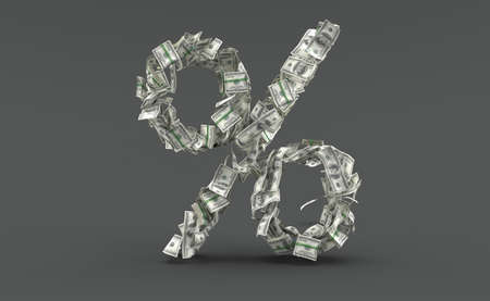 Dollar currency in percent symbol shape isolated on grey background. 3d illustration Standard-Bild