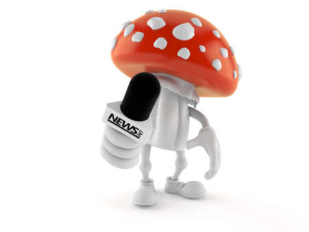 Toadstool character holding interview microphone isolated on white background. 3d illustration Standard-Bild