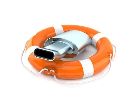 Muffler inside life buoy isolated on white background. 3d illustration