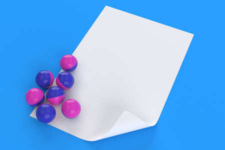 Paintballs with blank sheet of paper isolated on blue background. 3d illustration