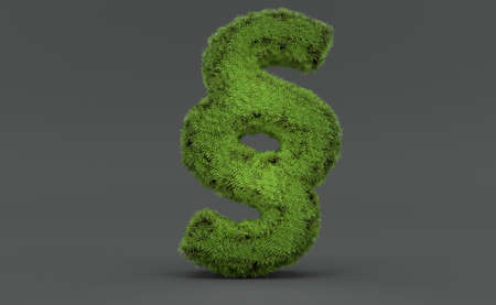 Paragraph symbol made of grass on grey background. 3d illustration