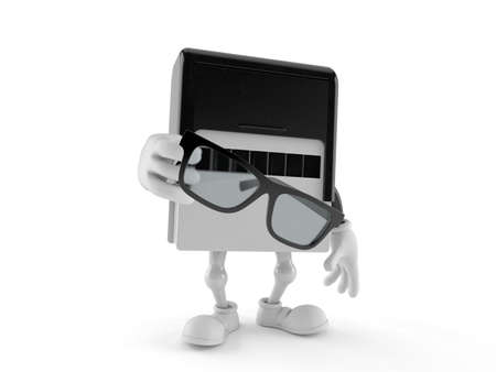 Rubber stamp character holding glasses isolated on white background. 3d illustration