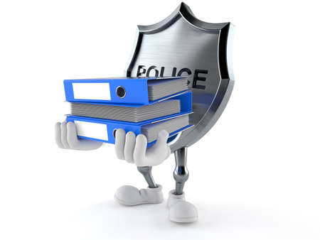 Police badge character holding ring binders isolated on white background. 3d illustration