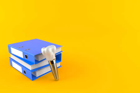 Dental implant with ring binders isolated on orange background. 3d illustration