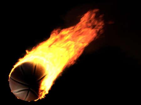 Basketball ball on fire on black background. 3d illustration Standard-Bild