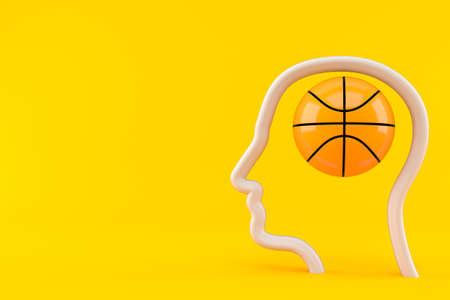 Basketball ball inside head profile isolated on orange background. 3d illustration