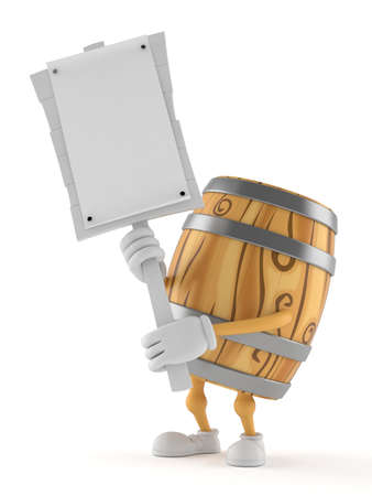Cask character holding protest sign isolated on white background. 3d illustration Zdjęcie Seryjne