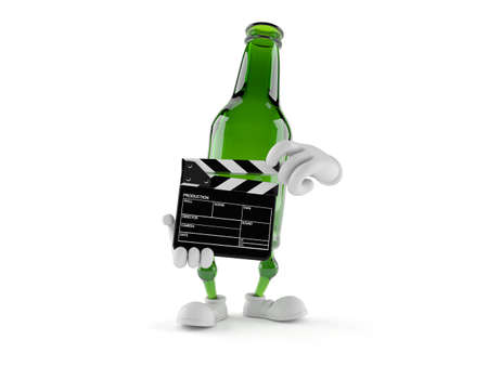 Green glass bottle character holding clapboard isolated on white background. 3d illustration Standard-Bild