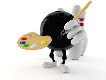 Bowling character holding paintbrush and paint palette isolated on white background. 3d illustration