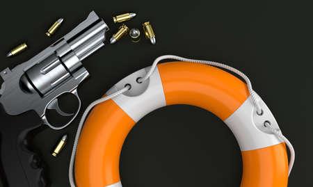 Life buoy with gun and ammunition on grey background. 3d illustration Standard-Bild - 151089470
