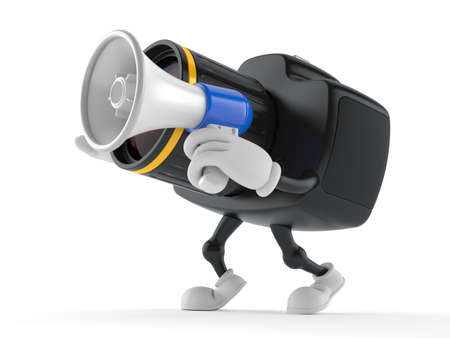 Camera character speaking through a megaphone isolated on white background. 3d illustration Standard-Bild