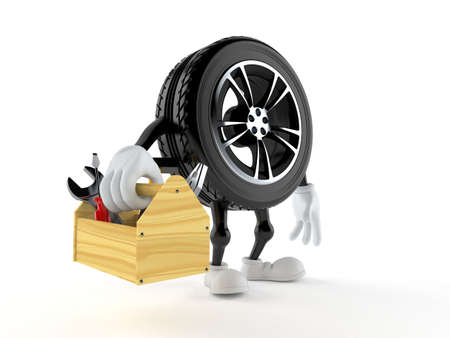 Car wheel character holding toolbox isolated on white background. 3d illustration Standard-Bild