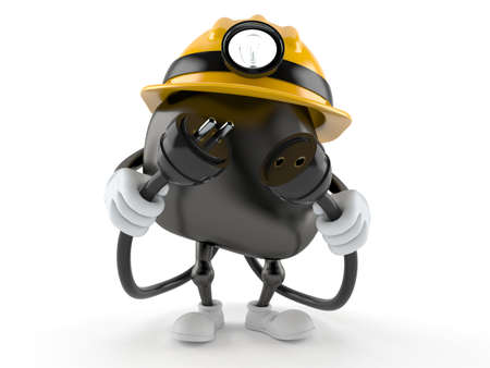 Miner character with electric plug and outlet isolated on white background. 3d illustration