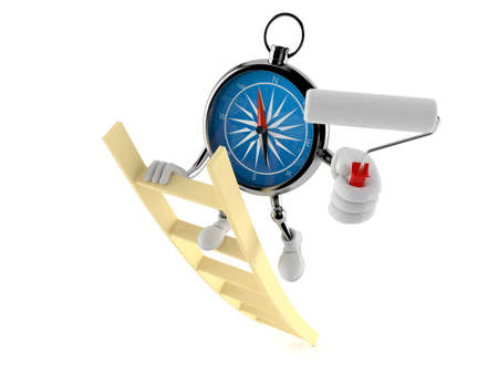Compass character on ladder holding roller paint isolated on white background. 3d illustration
