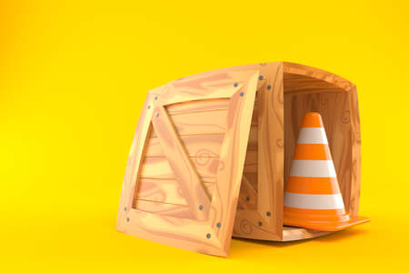 Cargo crate with traffic cone isolated on orange background. 3d illustration Standard-Bild