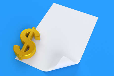 Dollar currency with blank sheet of paper isolated on blue background. 3d illustration Standard-Bild