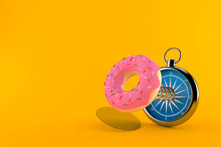 Donut with compass isolated on orange background. 3d illustration