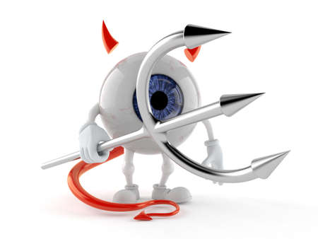 Eye ball character with devil horns and pitchfork. 3d illustration