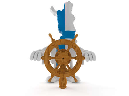 Finland character holding ship wheel isolated on white background. 3d illustration Standard-Bild - 151089487