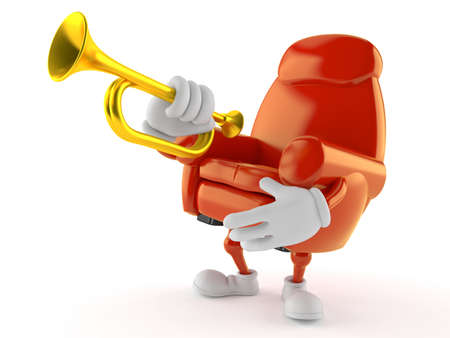 Armchair character playing the trumpet isolated on white background. 3d illustration