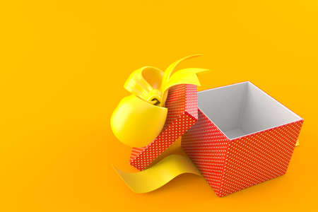 Open gift isolated on orange background. 3d illustration