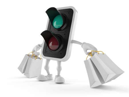 Green traffic light character holding shopping bags isolated on white background. 3d illustration Standard-Bild - 151089495