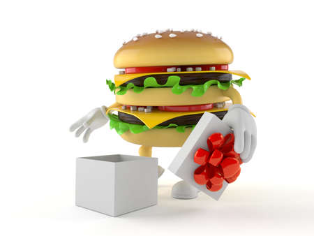 Hamburger character with open gift isolated on white background. 3d illustration