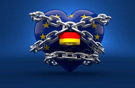 EU hart protect by german padlock on blue background. 3d illustration Foto de archivo