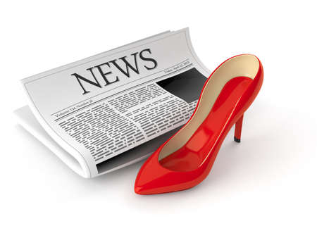 High heel with newspaper isolated on white background. 3d illustration