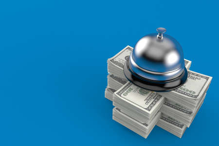 Hotel bell on stack of money isolated on blue background. 3d illustration