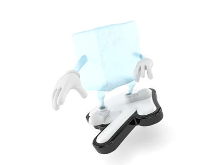 Ice cube character surfing on cursor isolated on white background. 3d illustration