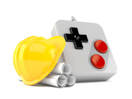Gamepad with blueprints isolated on white background. 3d illustration