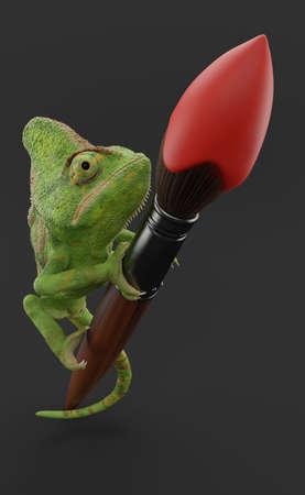 Chameleon on paintbrush on grey background. 3d illustration
